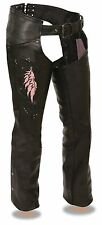 Ladies Naked Cowhide Leather Biker Chaps w/ Pink Wing Embroidery, Studding