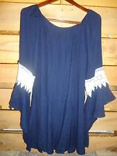 Honeyme California Ogry Navy Bell Lace Sleeves Tunic Dress S M L PLUS