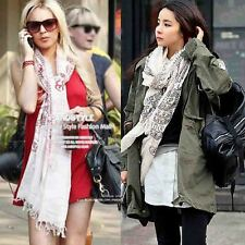 Women Casual Chic Voile Soft Red White Ethnic Eastern Print Pashmina Shawl Scarf