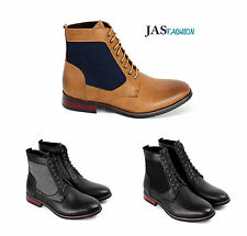 Mens Casual Ankle Boots Lace Up Biker Fashion Shoes Faux Leather Retro Size UK