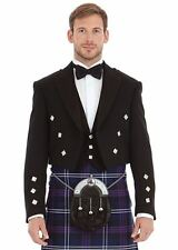 Men Black Scottish Prince Charlie Kilt Jacket with Waistcoat 100% Wool Handmade