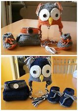 BABY OWL HAT, DIAPER COVER AND BOOTIES (0-3 months) Open eyes crochet