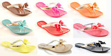 LADIES WOMENS JELLY BOW SANDALS FLAT SUMMER HOLIDAY FLIP FLIP JELLIES SHOES SIZE