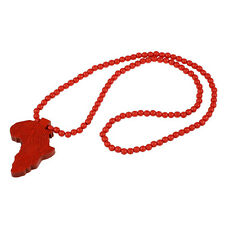 1pcs Hip-Hop African Map Pendant Wood Bead Rosary Necklaces Red HP