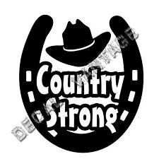 Horseshoe Country Strong Hat Vinyl Sticker Decal Luck Shoe - Choose Size & Color