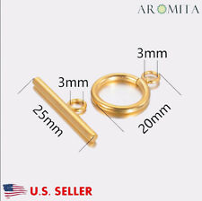 Wholesale Stainless Steel Gold Toggle Clasps Jewelry Making Findings 15mm Dia