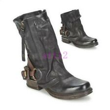 Vintage New Womens Gothic Punk Buckle Motorcycle Ankle Boot Punk Shoes All US Sz