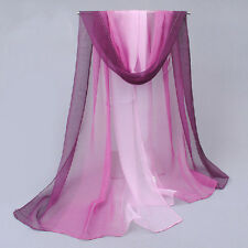 Women Sexy Soft Color Gradient Long Scarf Wrap Chiffon Voile Scarves Shawl 160cm