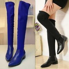 Vogue Womens Pointed Toe Leather Slouch Over The Knee Boot Elastic Flat  Shoes
