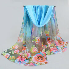 160*50cm Women's Voile Chiffon Scarf Big Rose Print Wrap Sexy Soft Scarves Shawl