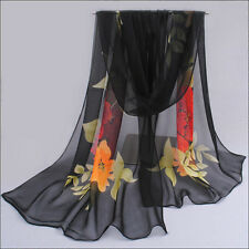 Ladies Soft Print Long Scarf Wraps Beach Chiffon Voile Silk Scarves Shawl 9Color