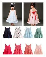 New Kids Child Girl Sleeveless Dress Casual Dress Cotton Vest Dress Mini Dress