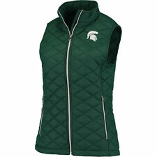 Colosseum Michigan State Spartans Women's Green Elite Quilted Full Zip Vest