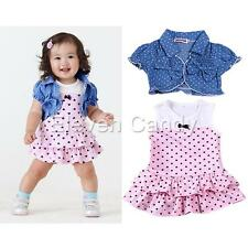 Girls Baby 2PCS Top Shawl Dresses Skirt Outfit Bowknot Kids Party Clothes 6-24M
