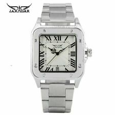 JARAGAR Day Date Square Shape Leather Strap Men Automatic Mechanical Wrist Watch