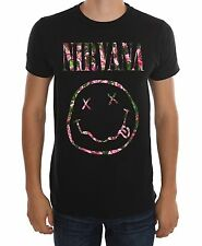 Nirvana Kurt Cobain FLORAL SMILEY FACE T-Shirt NWT Authentic & Licensed