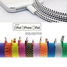 USB Data Sync Charger Braided Fabric Cable Cord For iPhone6 Plus 5S 5C 3/6/10FT