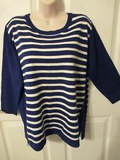 NWT - SAG HARBOR women's Blue/White sweater - sz PXL - MSRP $40.00 - Very Pretty