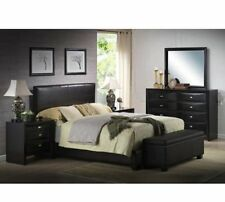 Queen Bed Frame Faux Leather Headboard Footboard Rails Eloquent Black Ireland