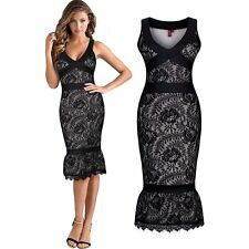 New Sexy Womens Strap Sleeveless Pencil Dress Womens Slim Lace Falbala Bodycon