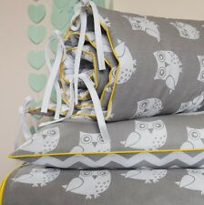 100%COTTON Cot Bed Duvet Cover Set / bumper /sheet Girls Boys Grey Owls Chevron