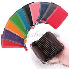 Fashion Mini Genuine Real Leather ID Business Card Credit Holder Pocket Wallet