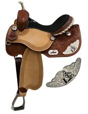 Double T Barrel Style Saddle with Silver Engraved Barrel Racer Accents