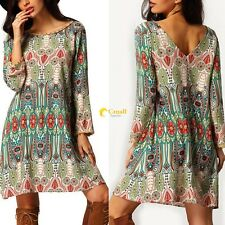 Women Fashion Vintage Shift Dress Long Sleeve Tassel Decor Print Mini Dresses