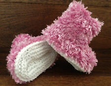 Hand Knitted Baby Booties Boots Slippers Girl  Soft Faux Fur Eskimo Pink  0-12M