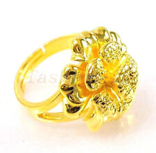 24K Yellow Gold Plated Ladies Flower Open Sparkle Big Free size Ring L M N O P