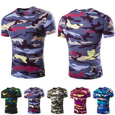 2016 Sale Fashion Mens Crew Neck T-Shirt Short Sleeve Slim Fit Camouflage Tops