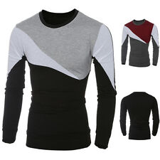 Men Casual Long Sleeve T-shirt Slim Fit Crew-Neck Patchwork Tee Tops Shirts Hot