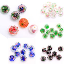 15pcs 6 Colors Beauty Lampwork Glass Flower Faced Spacer Oblate Beads Findings