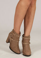 Womens New Season Block Heel Studded Suede Strap Ankle Boots