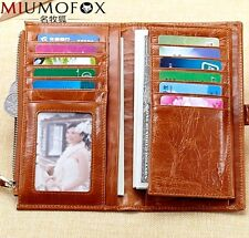 New Women Genuine Leather Bifold Long Wallet Clutch Card Holder Money Clip