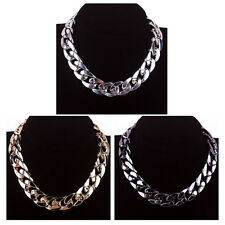 1pcs Chunky CCB Link Chain Choker Thick Curb Chain Statement Bib Necklace #YL