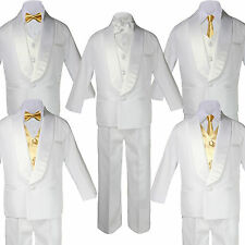 5-7pc BABY White Formal Shawl Lapel Suit Tuxedo MUSTARD Satin Bow Necktie Vest