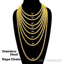 "Celebrity Style Fashion Gold PT STAINLESS STEEL 4mm 16""~36"" Rope Chain Necklace"