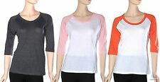 Women's New Raglan Baseball Tee 3/4 Sleeve Scoop Neck Sports Jersey T-Shirt S-L