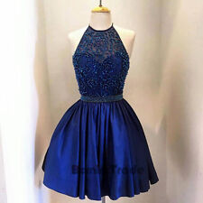 2016 Beaded Halter Homecoming Dress Cocktail Party Prom Mini Evening Formal Gown