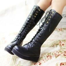 Womens Flat Heel Lace Up Knee High Boots Buckle Goth Platform Creeper Shoes