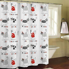 1PC French Style Novelty Cats Bathroom Shower Curtain Polyester With 12 Hooks