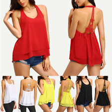 Stylish Women Lady's Summer Vest Top Sleeveless Blouse Halter Chiffon Shirts TOP