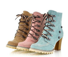 Womens rivet lace up high-top thick high heels Korean casual ankle boots shoes