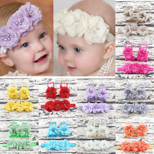 3Pc/set Foot Flower Barefoot Sandals Shoes Toe Baby Girl Infant Toddler Headband