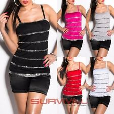 Womens Top with Sequins Stripes Sleeveless Hot Sexy Club Wear Party Size 6 8 10