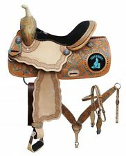 "14"", 15"", 16"" Double T barrel saddle set with "" Turn 'N' Burn"" design"