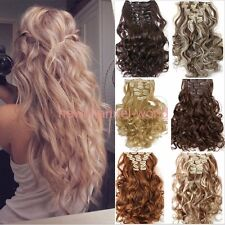 US Long Ombre New Clip in Hair Extensions 8 Pieces Full Head Long As Human Hair
