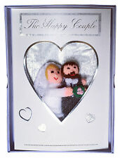 Personalised hand made finger puppet wedding card to match bride and groom