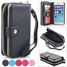 Zipper PU Leather Wristlet Card Wallet Purse Case Cover For Apple iPhone Series